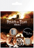 Odznak Attack on Titan Pin Badges 6-Pack Characters