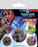 Odznak Guardians of the Galaxy Vol. 2 Pin Badges 5-Pack Rocket & Groot