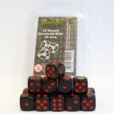 Kocka Set (15) D6/16mm, s bodkami BLACK/red dots