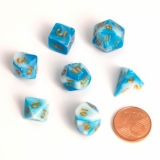 Kocka Set (7) - BF Fairy Dice BiColor MINI 12 mm Blue/White