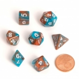 Kocka Set (7) - BF Fairy Dice BiColor MINI 12 mm  Orange/Blue