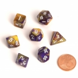 Kocka Set (7) - BF Fairy Dice BiColor MINI 12 mm  Yellow/Purple