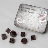 Kocka Set (7) Metal Dice Set - Black