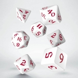Kocka Set (7) - Classic RPG Runic Dice Set white & red