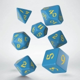 Kocka Set (7) - Classic RPG Runic Dice Set blue & yellow