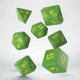 Kocka Set (7) - Classic RPG Runic Dice Set green & yellow