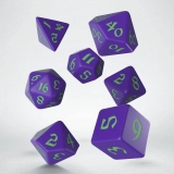 Kocka Set (7) - Classic RPG Runic Dice Set purple & green