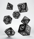 Kocka Set (7) - Dragons Dice Set black & white