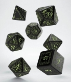 Kocka Set (7) - Elvish Dice Set black & glow-in-the-dark