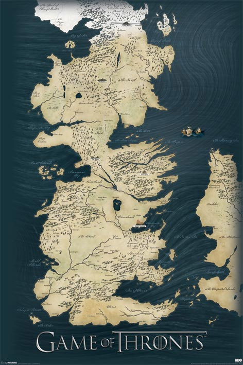 Plagát Game of Thrones Map of Westeros 61x91cm