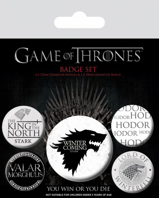 Odznak Game of Thrones Pin Badges 5-Pack Winter is Coming