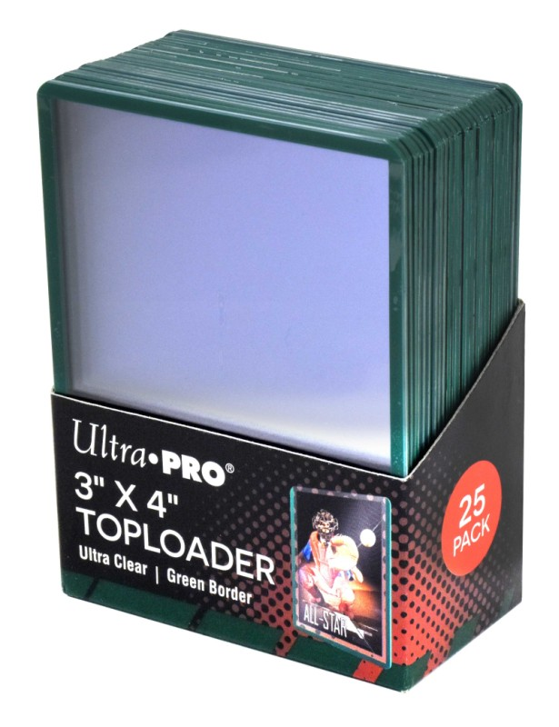 Obal UltraPRO TOPLOADER Green Border 25ks
