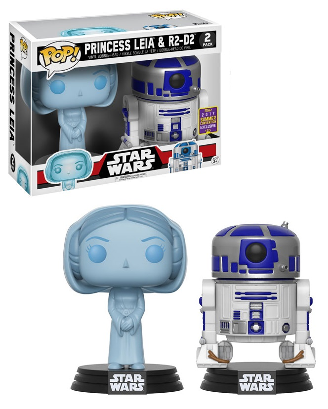 Funko POP: Star Wars - 2-Pack Holographic Leia & R2D2 SDCC 2017 10 cm