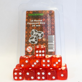 Kocka Set (15) D6/16mm, TRANSPARENT RED