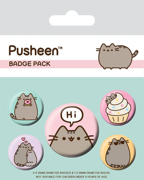 Pusheen Pin Badges 5-Pack Pusheen Says Hi