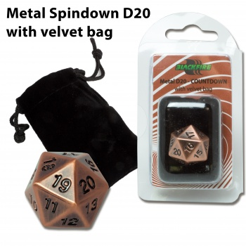 Blackfire Dice D20 Metal Spindown Counter ANTIQUE COPPER