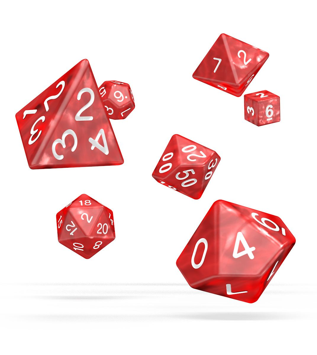 Kocka Set (7) - Oakie Doakie Dice RPG Set Marble - Red