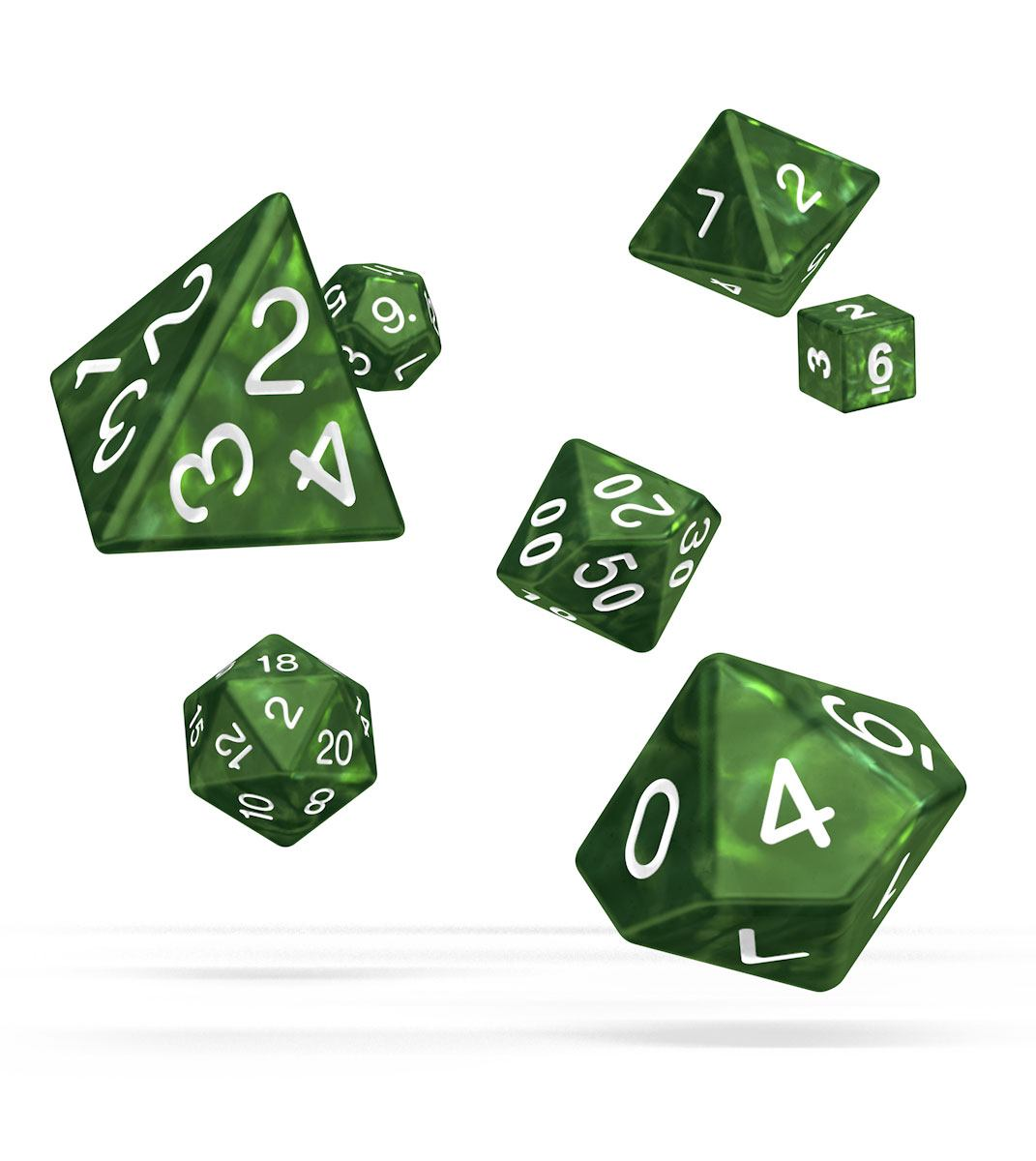 Kocka Set (7) - Oakie Doakie Dice RPG Set Marble - Green