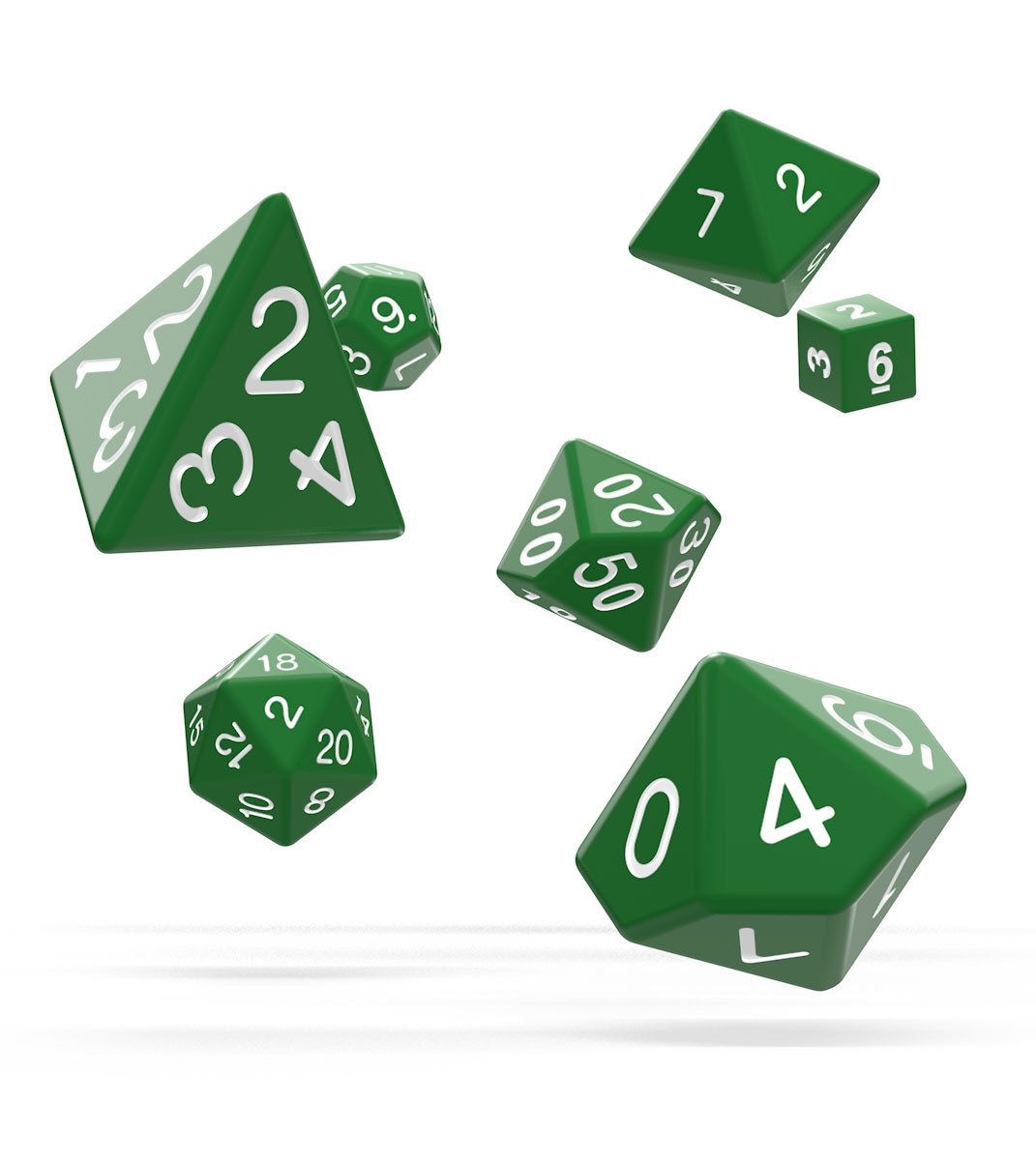 Kocka Set (7) - Oakie Doakie Dice RPG Set Solid - Green