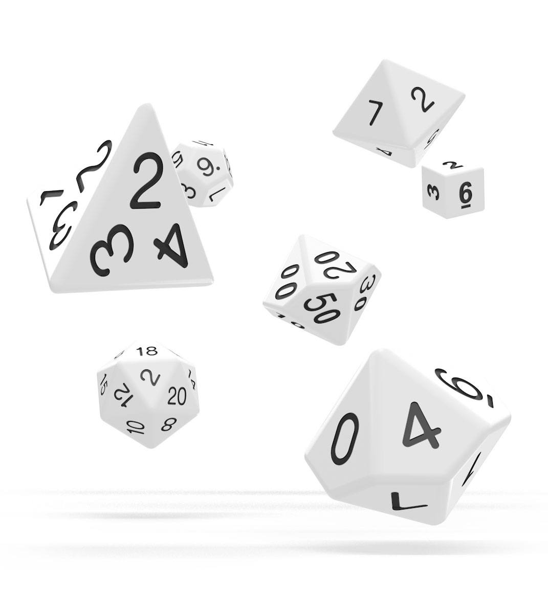 Kocka Set (7) - Oakie Doakie Dice RPG Set Solid - White