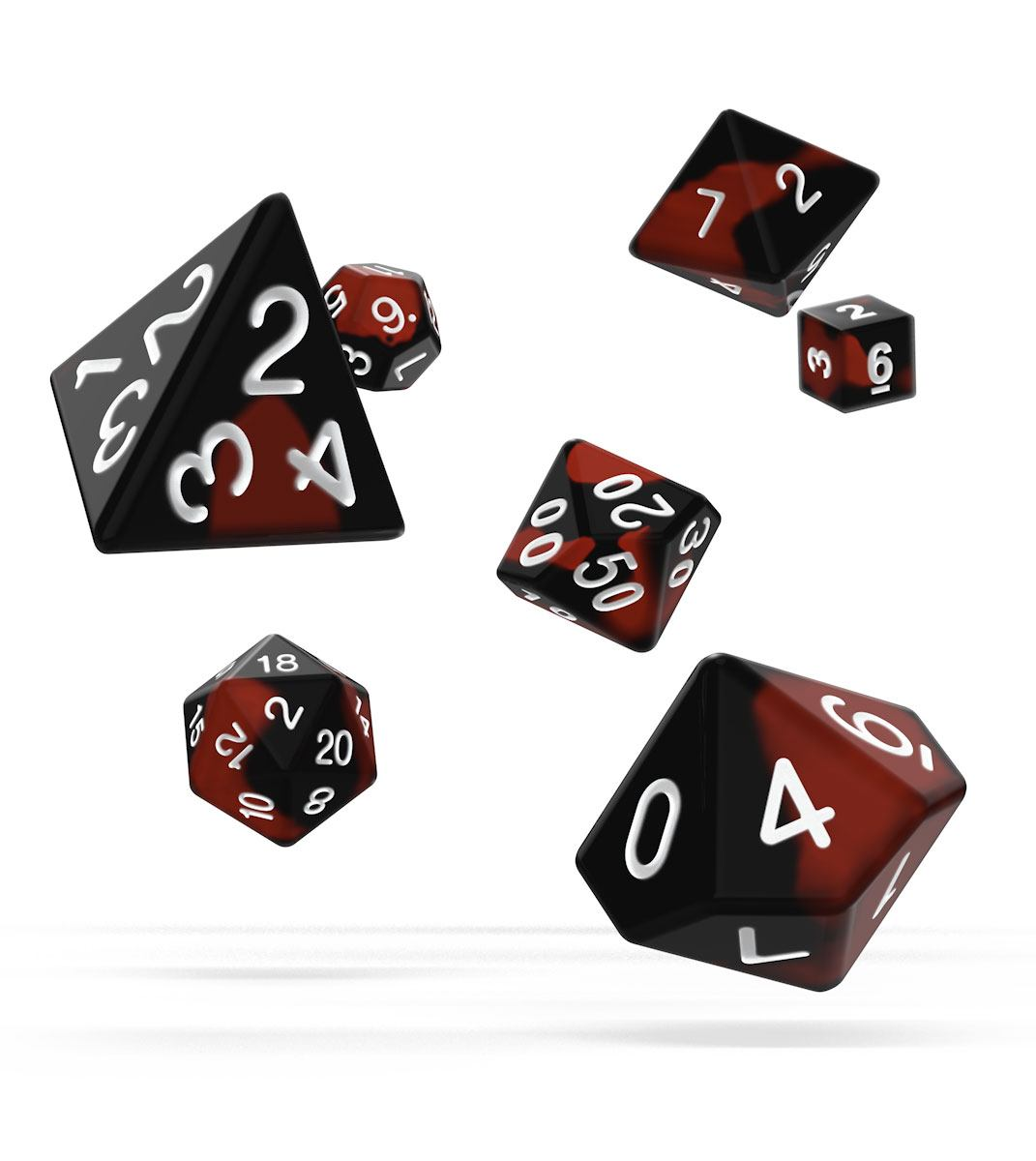 Kocka Set (7) - Oakie Doakie Dice RPG Set Glow in the Dark - Lava