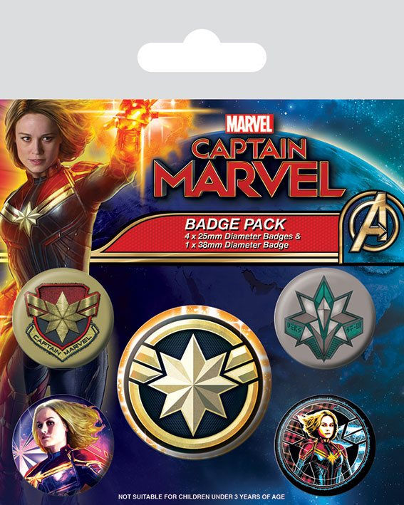 Captain Marvel Pin Badges 5-Pack Patches