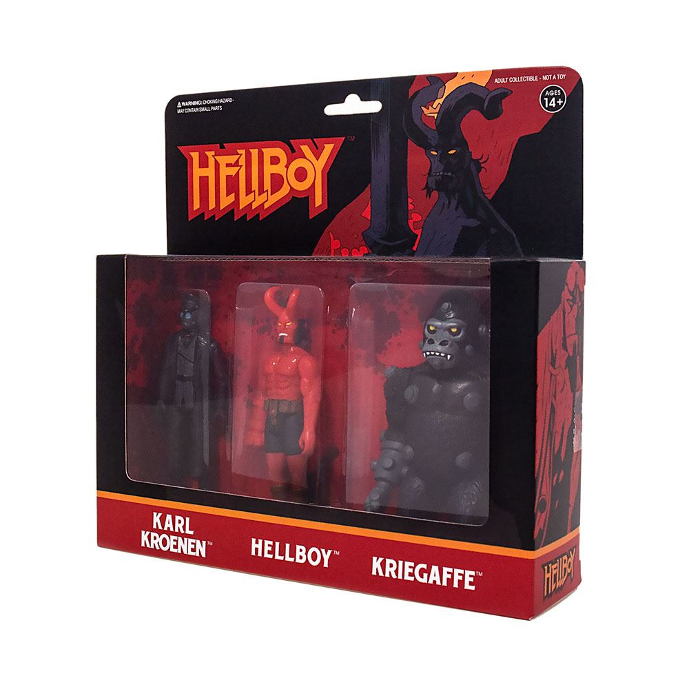 Hellboy ReAction 3-Pack Pack A Hellboy w/horns, Karl Kroenen, Kriegaffe Ape 10cm