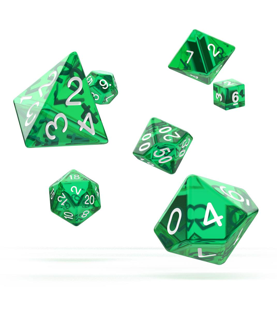 Kocka Set (7) - Oakie Doakie Dice RPG Set Translucent - Green