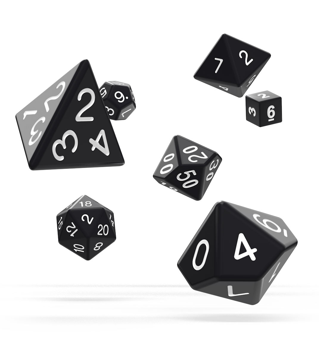 Kocka Set (7) - Oakie Doakie Dice RPG Set Solid - Black