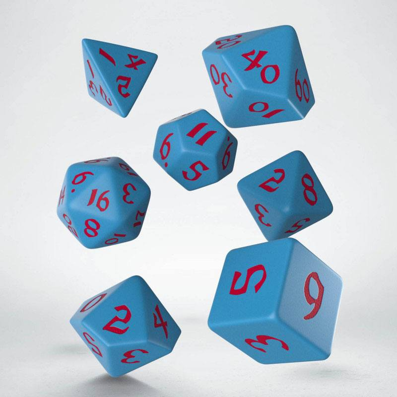 Kocka Set (7) - Classic RPG Runic Dice Set blue & red