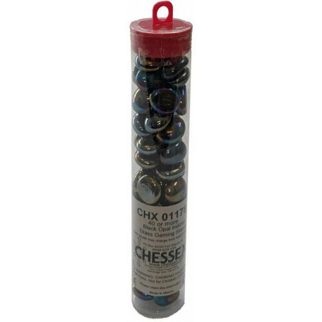 "Kamienky Glass Stones (40/4"" tube) - Iridized Black"