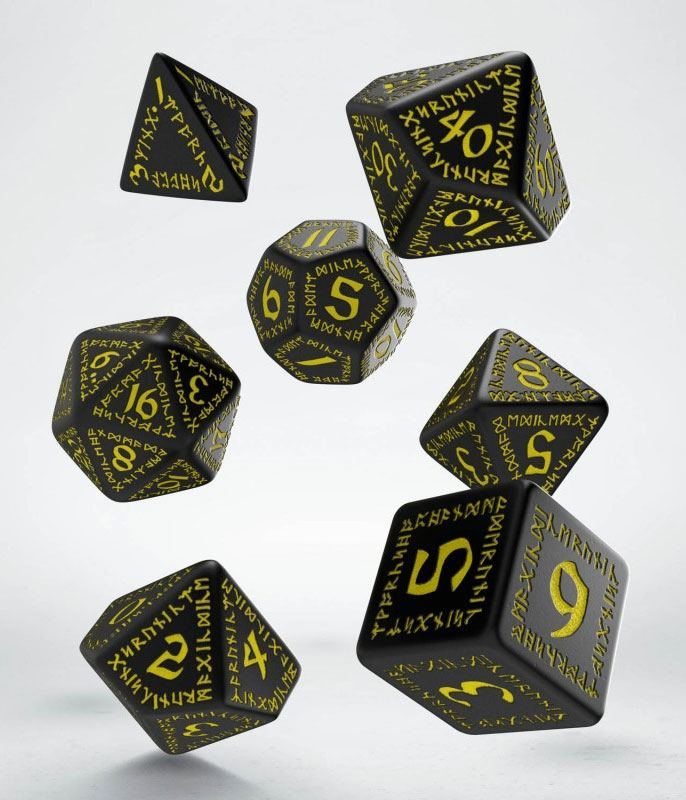 Kocka Set (7) - Runic Dice Set black & yellow