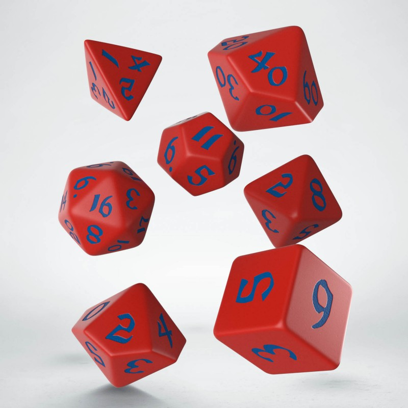Kocka Set (7) QW Runic Dice Set - Red & blue
