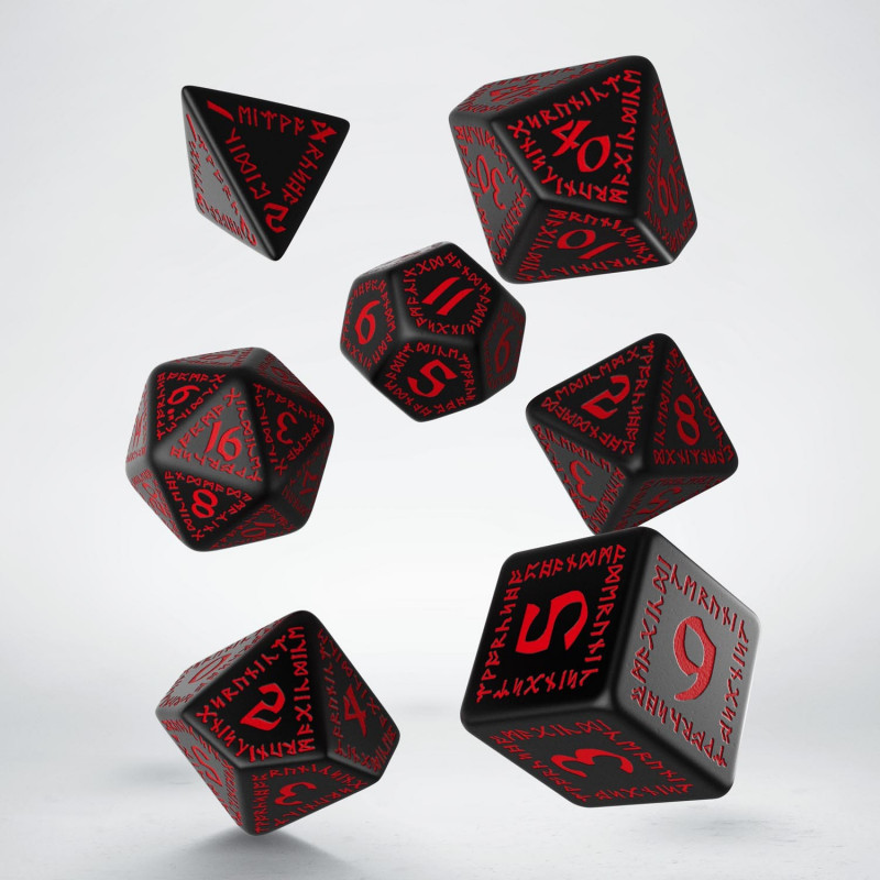 Kocka Set (7) QW Runic Dice Set - Black & red