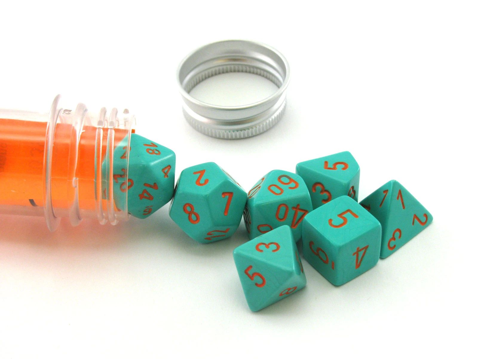 Kocka Set (8) - Lab Dice - Heavy - Turquoise/orange