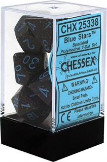 Kocka Set (7) - Speckled Polyhedral - BLUE STARS