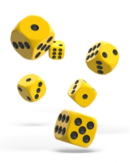 Kocka Set (12) - Oakie Doakie Dice - D6 Dice 16 mm Solid - Yellow