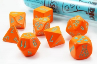 Kocka Set (8) - Lab Dice - Heavy - Orange/turqoise