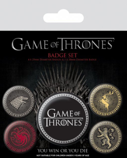 Odznak Game of Thrones Pin Badges 5-Pack Great Houses