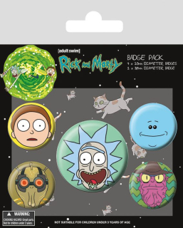 Odznak Rick and Morty Pin Badges 5-Pack Heads