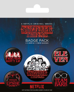 Odznak Stranger Things Pin Badges 5-Pack Characters